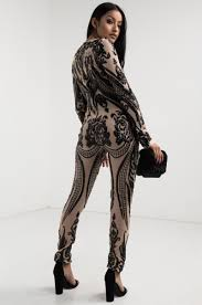 sleeve sequin jumpsuit sleeve sheer mesh sequin brocade crew neck slim fit