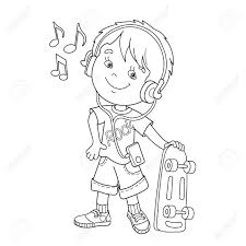 coloring page outline of cartoon boy in headphones with skateboard
