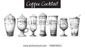 set sketch cocktails alcohol drinks vector stock vector 370612247