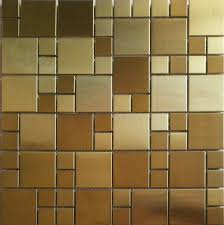 Gold Items Crystal Glass Mosaic Tile Wall Backsplashes by Brushed Gold Metal Mosaic Pattern Smmt026 Stainless Steel Wall