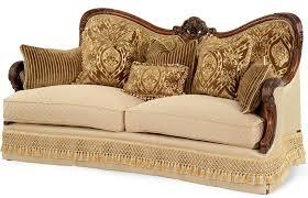 Couch Vs Sofa Amazon Com Aico Chateau Beauvais Wood Trim Sofa Kitchen U0026 Dining