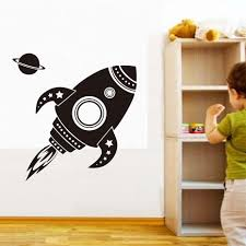 compare prices on star ship wallpaper online shopping buy low rocket ships stars space wall decal vinyl removable pvc wall stickers for kids rooms airplane aircraft