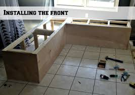 Kitchen Storage Bench Seat Plans by Remodelaholic Build A Custom Corner Banquette Bench