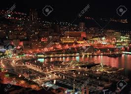 Monte Carlo Lights Panoramic View To Monte Carlo Night Lights Stock Photo Picture