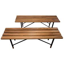 Bench Supports White Oak Slatted Bench With Metal Supports For Sale At 1stdibs