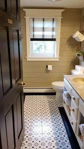 Bathroom Tile Makeover - jazz up an old bathroom floor using stencils stencil stories