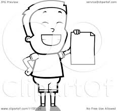 cartoon clipart of a black and white grinning little boy holding