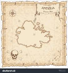 Antigua Map Antigua Old Pirate Map Sepia Engraved Stock Vector 492225580