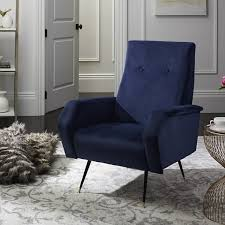 Retro Accent Chair Safavieh Mid Century Modern Retro Aida Velvet Navy Club Chair