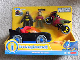 imaginext batmobile with lights dc imaginext batman and robin figure w cycle fisher price batmobile