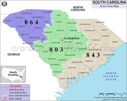 map of area codes south carolina area codes map of south carolina area codes