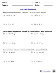 comparing arithmetic geometric sequences worksheets arithmetic