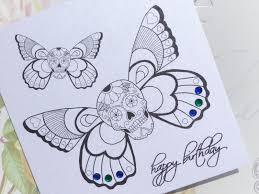 handmade birthday card winged sugar skull tattoo vickilicious