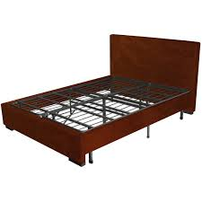 antique brown faux leather bed frame with black iron slat and