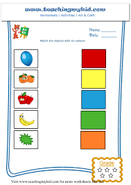 printable worksheet general knowledge match the objects with its colo u2026