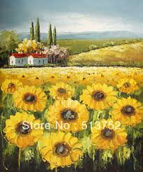 Chinese Home Decor Store Simple Sunflower Painting Oil Painting Chinese Decor Wall Home
