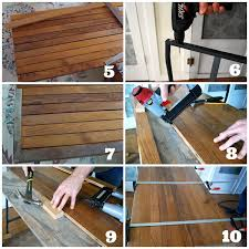 how to a desk with ikea trestle legs and wood flooring