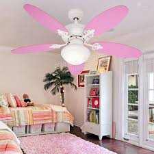 pink ceiling fans with lights for teenage bedroom interior