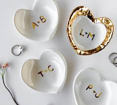 monogrammed dishes white and gold monogrammed jewelry dish heart ceramic ring