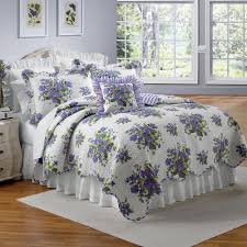 Gray Down Comforter Beautiful Lavender Purple Violets Floral Full Queen Size Quilt Bed