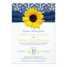 blue and yellow ribbon yellow sunflower navy blue damask ribbon wedding card zazzle