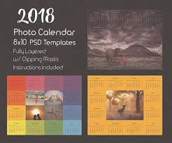 8x10 photo calendar template 2018 photoshop template