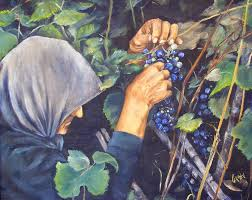 the grape picker 20x16 oil painting on canvas of portuguese