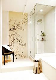 bathroom mural ideas guest bathroom ideas with mural wall and walk in shower and drop