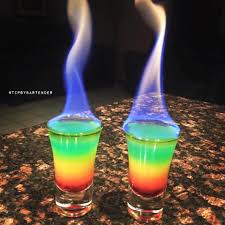 cocktail drinks flaming rainbows grenadine orange juice vodka club soda blue food