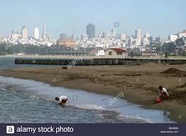 sans francisco castle two boys build a sand castle on crissey field beach in san