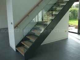 Glass Banisters Cost China Low Cost Steel Plate Stringer Straight Glass Stair With