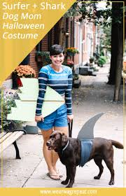 halloween couples costume with your dog surfer and shark