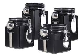 black ceramic kitchen canisters black ceramic kitchen canister food storage jar set sugar coffee