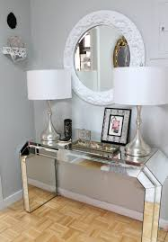 White Entry Table by 100 Mirrored Glass Console Tables Console Table Console