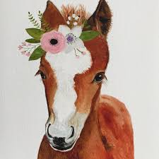 watercolor foal farm animals horse painting watercolor animal