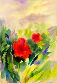 watercolor painting original landscape red color of chinese rose