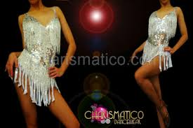 showgirl u0027s silver sequined beaded white fringe sassy dance mini dress