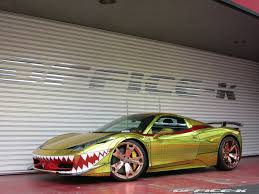 ferrari gold office k transforms ferrari 458 spider into a shark in gold
