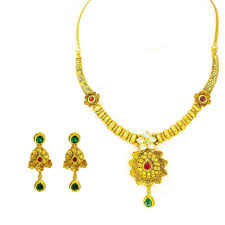 antique gold necklace images 22k yellow antique gold necklace earrings set w ruby emerald jpg