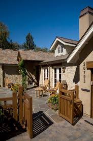 Stone Patio Design Doors Stone Patio Ideas With Wooden Gates And Wood Fence For
