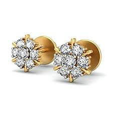 gold diamond stud earrings buy diamante 18k gold and diamond stud earring online at low
