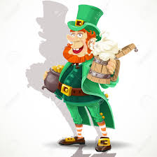 cute leprechaun with beer and pot of gold royalty free cliparts