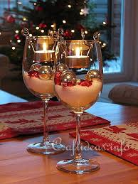Christmas Dinner Centerpieces - interesting diy wine glass centerpieces