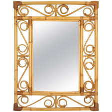Mirror For Sale 1960s Spanish Handcrafted Bamboo And Rattan Rectangular Mirror