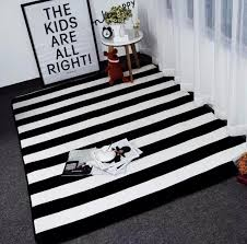 Area Rug Black And White Simple Black White Stripes Carpets For Living Room Home Bedroom