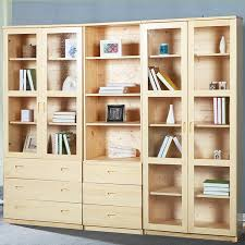 Bookcase Pine Solid Wood Furniture Pine Bookcase Shelf Bookcase Open Glass Doors