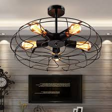 wrought iron flush mount lighting retro 5 light wrought iron black fan semi flush mount ceiling light