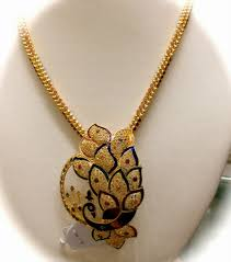 gold pendant chain necklace images Gold chain with peacock pendant latest gold jewellery designs jpg