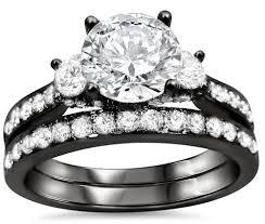 Black Gold Wedding Rings by Round Diamond 3 Stone Engagement Ring Bridal Set 18k Black Gold