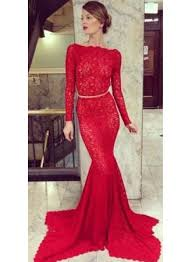 new arrival red lace prom dresses long sleeve backless mermaid